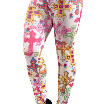 BadAssLeggings Women's Colorful Crosses Leggings Medium White