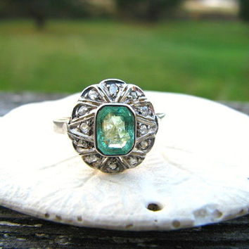 Vintage Emerald Diamond Ring, Emerald Cut Natural Emerald, Rose Cut Diamonds, Lovely Design in Rose Gold and Silver