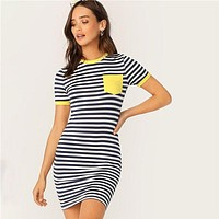 Comeback Baby Striped Short Sleeve Bodycon Dress