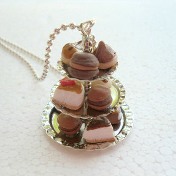 Cake Stand Pendant. Polymer Clay.
