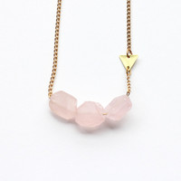 I liked this design on #Fab. Rough Rose Quartz Necklace