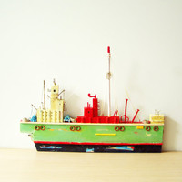 Colourful fishing boat sculpture,Greek folk art, wooden boat sculpture, completely handmade