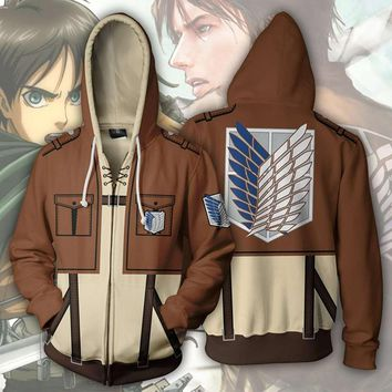 Cool Attack on Titan  Wings Eren Jaeger Mikasa Levi 3D Hoodie Jacket Coat no  Cosplay Costume Outfit Scouting Legion AT_90_11