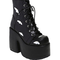 Demonia By Pleaser Camel Hologram Bat Platform Booties
