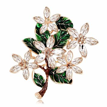 2017 Vintage Flower Brooches For Women Scarf Luxurious Antique Pins Popular Rhinestone Brooch Female Wedding Gift Fashion Style