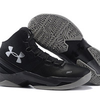 Men's Under Armour Stephen Curry 2 The Professional Black Silver Basketball Shoes