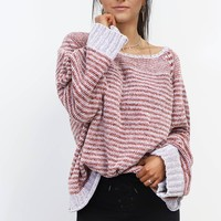 My Story Mauve Striped Chenille Sweater