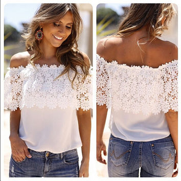 Lace Off-Shoulder Strapless Floral Patchwork T-shirt