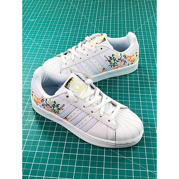 Adidas Superstar Shell Head White With Flower Print Shoes