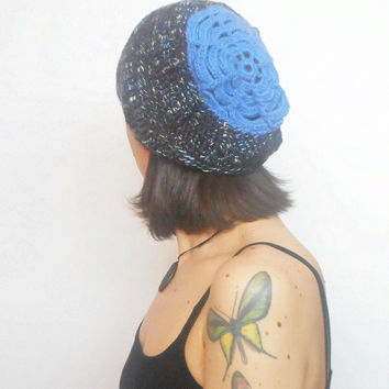 Charcoal Grey Tweed Slouch Beanie with Blue Flower, OOAK, ready to ship.