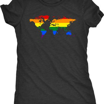 Pride World Map Womens Tri-Blend T-Shirt