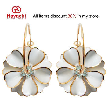 Navachi White Enamel Flower 18K Yellow Gold Plated Clear Crystal Rhinestone Hoop Hook Free Shipping Dangle Earrings SMT2461