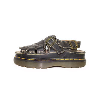 8 UK | DR MARTENS black woven leather sandals - Made in England - like new - 42 eu - womens 10 us - mens 9 us