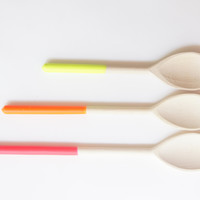 Wooden Mixing Spoons {Set of 3} Neon Trio