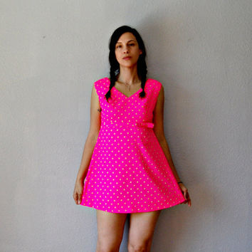 polka DOT micro mini dress / baby doll 1960s by vintagemarmalade