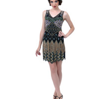 Unique Vintage Peacock Beaded Fringe 1920s Flapper Dress
