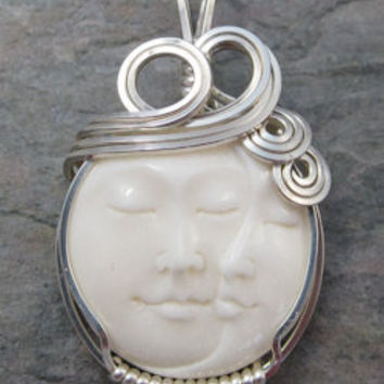 Carved Double Moon Face Cameo Cow Bone Bali Sterling Silver Wire Wrapped Pendant