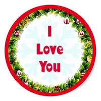 I Love You Christmas Classic Round Sticker