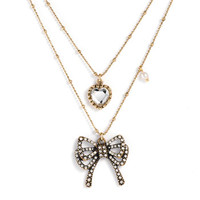 Betsey Johnson 'Betsey Paris' Crystal Bow & Heart Double Strand Necklace | Nordstrom