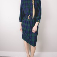 Vintage Plaid Green Navy Mini Dress