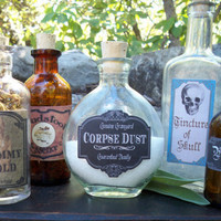 Antique vintage apothecary bottles 5 Halloween spooky potion bottles decoration haunted house OOAK