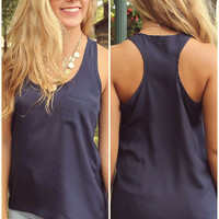 Take Me Back Navy Racerback Pocket Tank Top