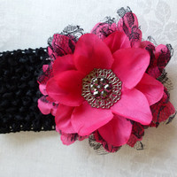 Hot Pink Flower Headband - Shabby Chic Flower Headband - Black Crochet Headband - Black and Pink Girls Headband - Boutique Headband
