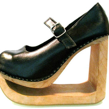 Vintage 1980's Leather Mary Jane Wooden Sole by Atomicfireball