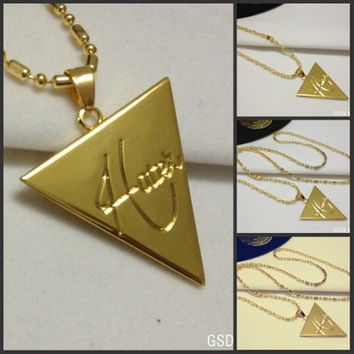Hip hop jewelry HATET inverted triangle Pendant Necklace