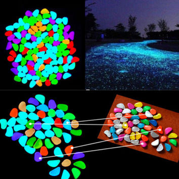 5pcs/lot Glow In The Dark Pebbles Stone Home Decor Walkway Aquarium Fish Tanks