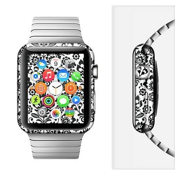 The Black Floral Delicate Pattern Full-Body Skin Set for the Apple Watch