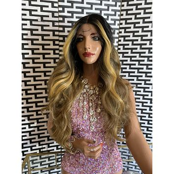 "BROOKLYN lace front wig 24"" long blonde brown hair"