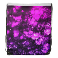 Pink and Purple Bokeh Hearts Drawstring Backpacks