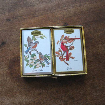Vintage Songbird Graphic Playing Cards; NOS Congress 2 Deck Box with Cardinal & Eastern Bluebird Illustrations; Vintage Gift/Budget