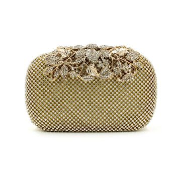 New Both Side Diamond Flower Crystal Evening Bag Clutch Bags Upscale Styling Day Clutches Lady Wedding Purse 3 Color