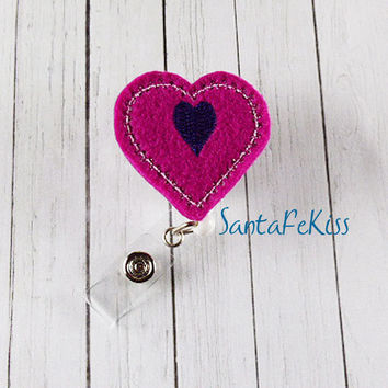 Pink & Purple Heart Felt ID Badge Holder with Retractable Badge Reel for Office Worker / Teacher/ Coworker / Nurse
