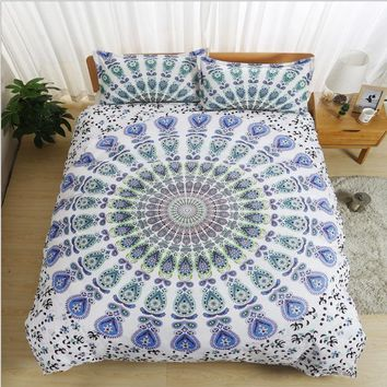 White Twin full queen king Bohemia 3pcs Bedding Set Bedclothes Duvet Cover Pillowcase Bedding Sets Bed Linen Home Textiles