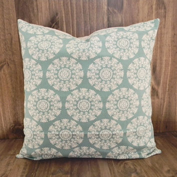 Teal Blue and Cream Flower Dials 16 x 16 Pillow Cover, houswarming gift, cushion cover, spring room decor
