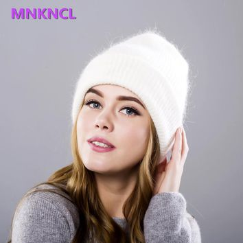Hot selling 2017 New Women Autumn And Winter Hat angora Knitted Skullies Beanies Cap Classic color  hats