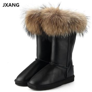 JXANG Fashion Boots Women High Boots Women  Snow Boots 100% Genuine Waterproof Winter Shoes Natural Fox Fur Leather