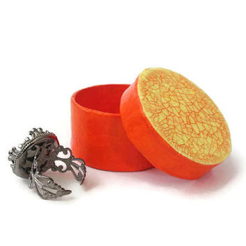 Tiny round gift box in bright orange with yellow and orange crackle lid, extra small decorative box, colorful gift box, trinket box