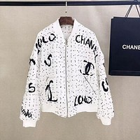 CHANEL Women Fashion Letter zipper Coat