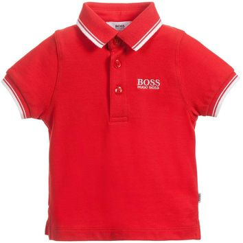 Hugo Boss Boys Red Polo Shirt