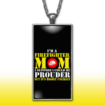Firefighter Mom Pendant Charm Necklace Proud Mother Gift Custom Charm Necklace, Silver Plated Jewelry