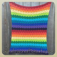 100% Cotton Crochet Rainbow Baby Blanket~Ready to Ship~FREE SHIPPING