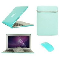 "TopCase Macbook Air 13"" (A1369 and A1466) 5 in 1 Bundle - Turquoise Blue Crystal Hard Case Cover + Matching Color Soft Sleeve Bag +Wireless Mouse + Transparent TPU Keyboard Cover + LCD HD Clear Screen Protector With TopCase Mouse Pad"
