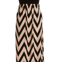 Enchanted Evening Maxi Strapless Dress - Peach and Black