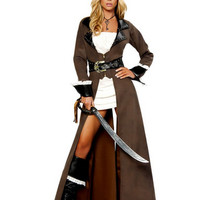 Sexy Long Pirate Trench Coat Women's Halloween Costume