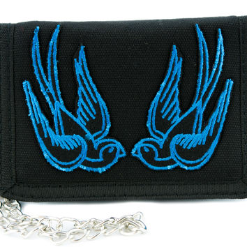Blue Swallow Sparrow Birds Tri-fold Wallet Alternative Clothing Rockabilly Tattoo Ink