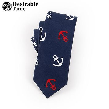 Men Anchor Cotton Neck Ties New Fashion Christmas Gifts Navy Blue Slim Neck Tie